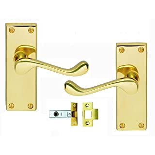 Victorian Scroll Brass Door Handle & Latch Set: 3 Pairs of Brass Lever Door Handles With Tubular Mortice Latch Sets