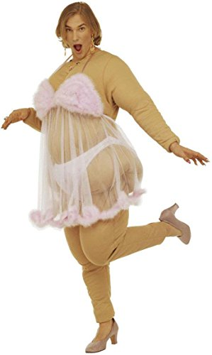Widmann 4491B - Erwachsenenkostüm Dicke Stripteasetänzerin, gepolstertes Kostüm mit Slip und Babydoll, (Suit Halloween Fat)