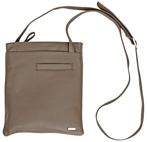 Felda - borsa a tracolla da donna - vera pelle - con sacchetto antipolvere - color carne tortora