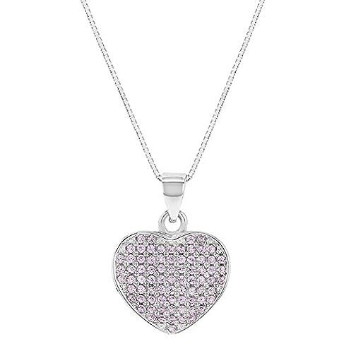 925Sterling Silber Micro Pave Rosa CZ Herz Anhänger Halskette Teens Mädchen 45,7cm