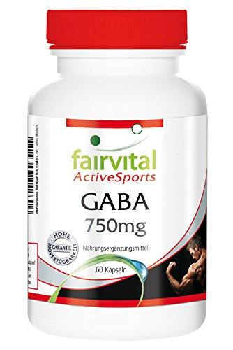 fairvital - GABA - 60 cápsulas vegetarianas de ácido gamma-aminobutírico - 750 mg