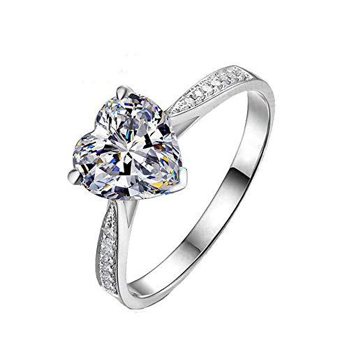 Uloveido 925 Sterling Silber Simulierter Diamant Herzform Verlobung Hochzeit Versprechen Ring für Frauen und Mädchen mit Zirkonia LJ041 (Versprechen Diamant Ringe)