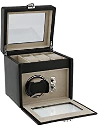 Dulwich Designs of London Connoisseur Collection Watch Winder for 1 Watch with Storage Area Above for 3 More Perfect Rolex Breitling Tag Omega Cartier Hublot etc Automatic Watches