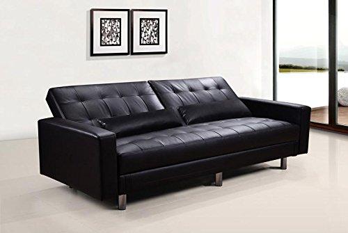 Divano Nero Ecopelle : Divano letto contenitore ecopelle nero posti reclinabile con