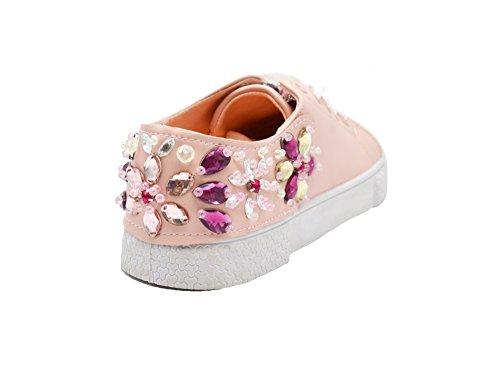 SHY52 * Baskets Tennis Sneakers Simili Cuir Rose avec Ornements Fleurs, Pierres, Perles et Semelle Blanche Rose