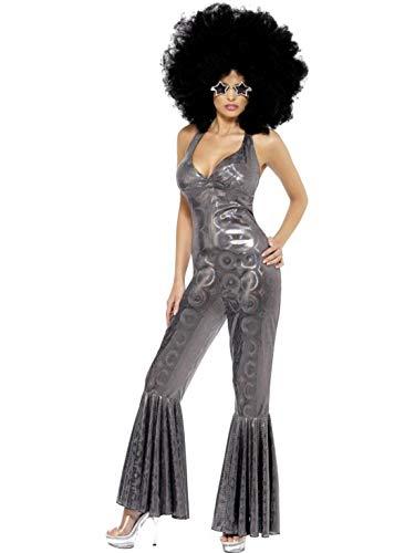 Bob Frauen Marley Kostüm - Luxuspiraten - Damen Frauen 70er Jahre Diva Disko Tanz Kostüm mit Catsuit Jumpsuit Overall Einteiler, Stirnband und Gürtel, perfekt für Karneval, Fasching und Fastnacht, M, Silber