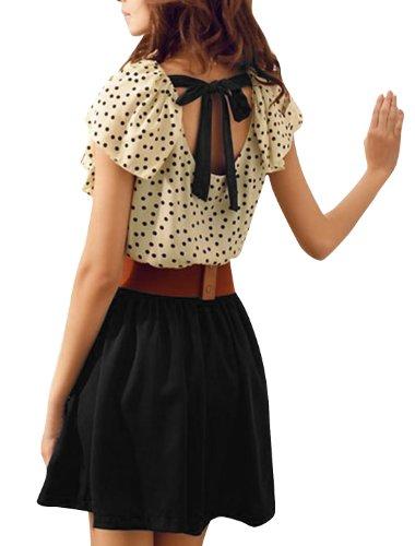 Flouncing Collier femme Motif à pois avec taille élastique Beige Summer robe avec ceinture Noir-S Noir - Noir