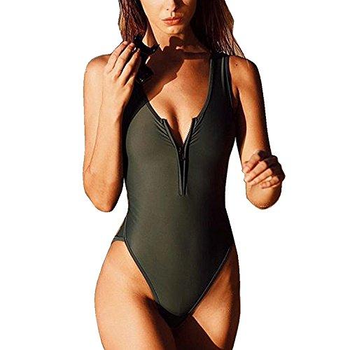 Byd da donna costumi interi push-up nero puro monokini costumi da bagno con cerniera bikinis mare e piscina vacanza