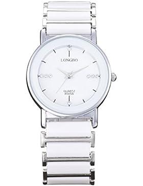 Longbo Luxus Herren Unisex Silber Weiß Keramik Armband Uhren Casual Paar Kleid Armbanduhr Kristall Rinestone Wasserdicht...