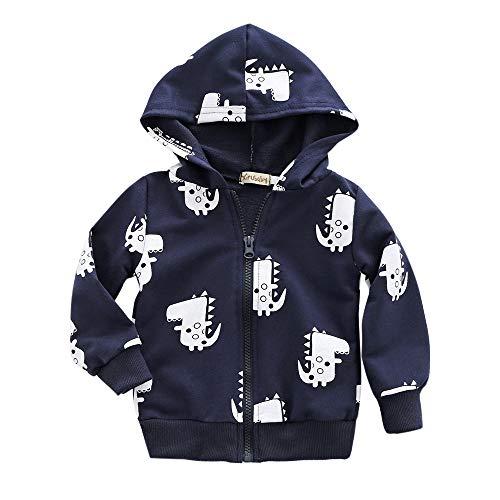 Bellelove☺Kinder Baby Junge Beiläufig Baumwolle Oberbekleidung Netter Dinosaurier Gedruckt Reißverschluss Kapuzen Jacken Mantel