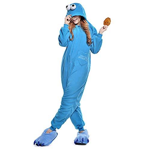 Kostüm Cookie Christmas - DUKUNKUN Erwachsene Pyjamas Cookie Anime Pyjamas Kostüm Blau Cosplay Für Tier Nachtwäsche Cartoon Halloween Festival/Urlaub/Weihnachten,L