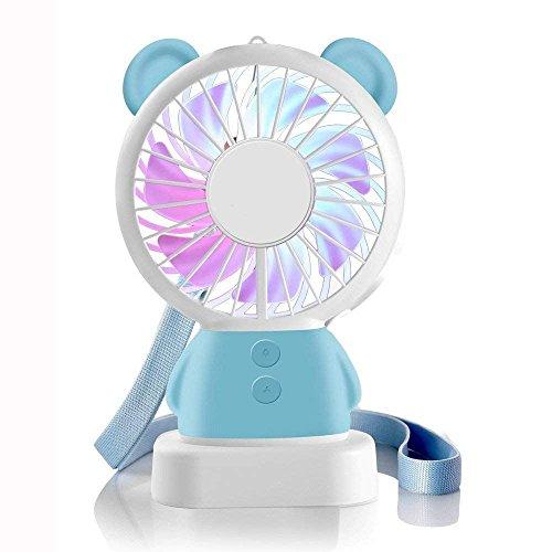 -Ventilator Portable wiederaufladbare Luefter Thin Luefter Multi-Color-LED-Licht Fan Cute Bear Kaninchen Fan standfeste und haengende Fan Geschenke ()
