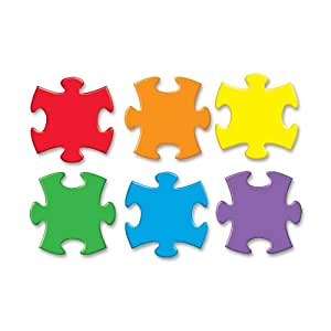 """Trend - Accents, Puzzle Pieces Classic, 5-1/2"""" Tall, 36/PK, Multi, Sold as 1 Package, TEPT10906"""