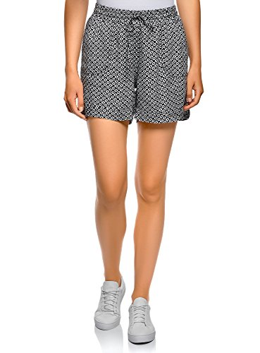 oodji Collection Mujer Pantalones Cortos de Viscosa con Cordones, Negro, ES 36 / XS