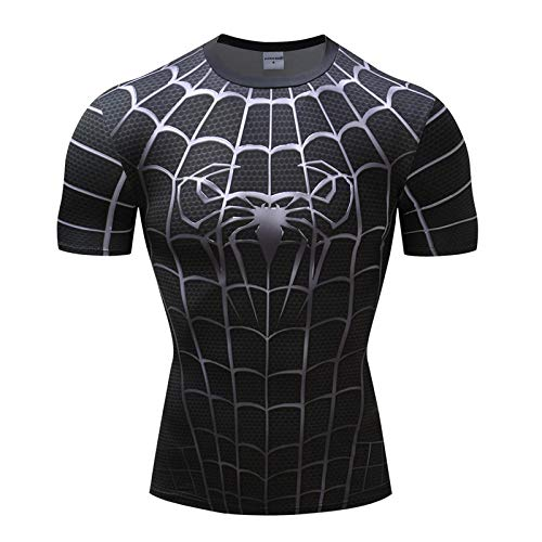 JUFENG Spiderman 3D Print T-Shirts Männer Compression Fitness Shirts Superheld Tops Marvel Kostüm Kurzarm Fitness Crossfit T-Shirts Cosplay Und Themenparty,D-S