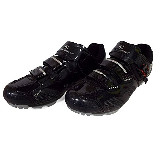 VeloChampion Elite SPD MTB Cycling Shoes For Men Women Ideal For Mountain, Cyclo Cross Country XC Bikes in Black/Silver + Socks Included