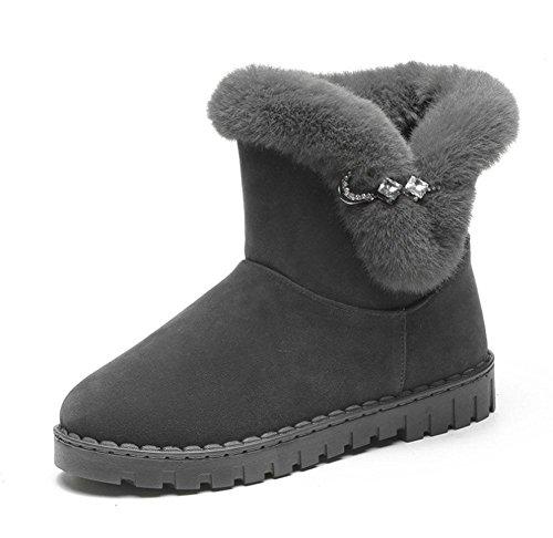 KUKI Scarpe da donna, stivali da donna, scarponi da neve, stivali a fondo piatto, più velluto, addensato, stivali, interno, fondo spesso, moda, tempo libero, sport gray