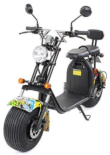 PEQUENENES Patinete Scooter EFLUX Harley 1500 W 60 V 20AH BATERIA Ion Litio (Amarillo)