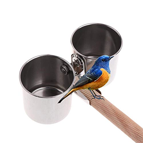 Hook.s Papagei Vogel Edelstahl Feeder Wasser Feeder Cup Clip Typ Trog Futternapf Stand -