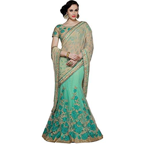 Vasu Saree Designer Net & Chiffon Beige & Sea Green Colour Lehenga...