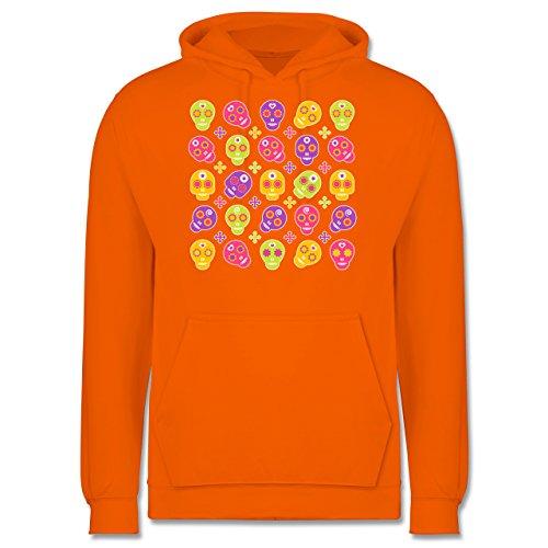 Rockabilly - Candy Skull - Männer Premium Kapuzenpullover / Hoodie Orange