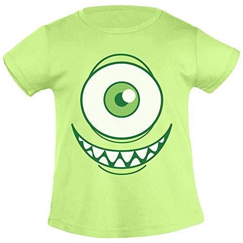 Kids Karnevals & Faschings Grinsendes Einäugiges Monsterkostüm Mädchen T-Shirt 106/116 (5-6J) Limettengrün (Mädchen Monster Inc Aus)