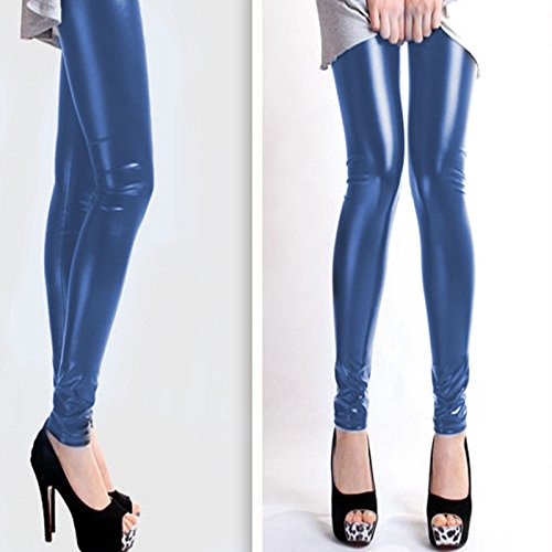 wlgreatsp Donna Classico Elastico Ecopelle Leggings Pants Blu scuro