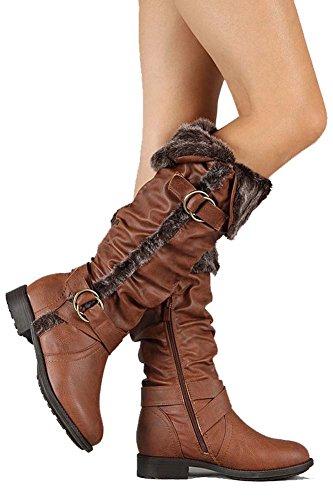 """Fourever Funky-Custodia in pelle modello """"Vegan"""", con polsino in pelliccia di ricambio Rider-Stivali al ginocchio Marrone (marrone)"""
