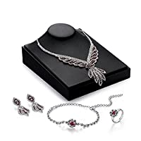 MJARTORIA Women's Red Rhinestones Necklace Earrings Bracelet Ring Bridal Wedding Jewelry Set