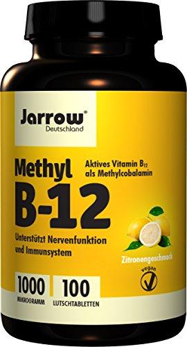 Methyl B12 1000 µg, aktives Vitamin B12 als Methylcobalamin, Lutschtabletten mit Zitronengeschmack, vegan, hochdosiert, Etikett in Deutsch, Englisch und Französisch, Jarrow, 1er Pack (1 x 100 Stück)