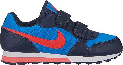 Nike Jungen Md Runner 2 (PSV) Leichtathletikschuhe, Mehrfarbig (Photo Blue/Bright Crimson/Obsidian/White 412), 31.5 EU - Sneakers Nike Jungen Rot