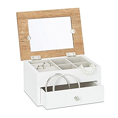 Relaxdays Schmuckkästchen mit Fotodeckel HBT: 9,5 x 18,5 x 13,5 cm kleiner Schmuckkasten mit Ringfach als Schmuckaufbewahrung für Ketten und Ohrringe Schmuckschatulle mit Schubfach und Spiegel, weiß