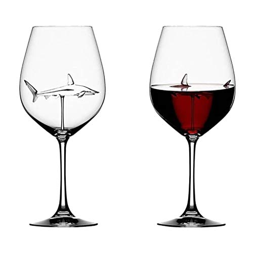 The Original Shark Red Wine Crystal Glass - Exquisite Large Wine Glasses - 300ml-Perfect for Anniversary and Wedding, Wine Gifts (Clear)
