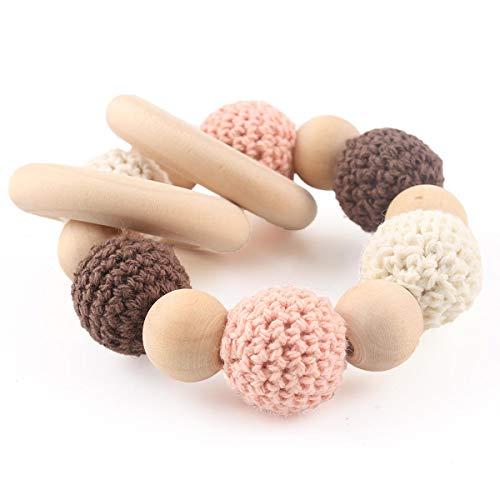 baby tete Baby Holz Rasseln Häkeln Perlen Zahnen Ring Pflegearmband Montessori Spielzeug