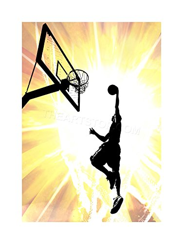 PAINTING SPORT BASKETBALL JUMP SLAM DUNK HOOP FRAMED PRINT F12X4780