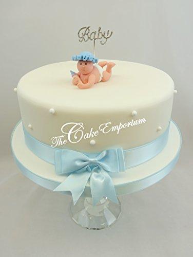 Baby Shower, bautizo bebé brillantes, Claydough decoración para tarta para bebé de lazo y lazo a juego Set