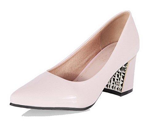 AgooLar Femme à Talon Correct Couleur Unie Tire Verni Pointu Chaussures Légeres Rose