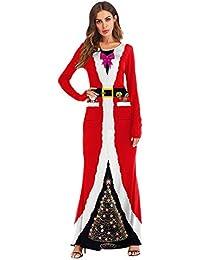 193437bec2 ZYUEER Vestido Largo De Fiesta De La Bola Impresa 3D De Cosplay del Traje  De Santa Claus De Las Mujeres De La…