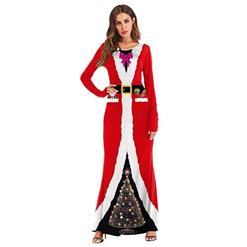 TWBB Damen Weihnachtsmann Drucken Cosplay Kostüm Lange Kleider Langarm Festlich Cocktailkleid Abendkleid Kleider Winter Abschlussball Partykleider