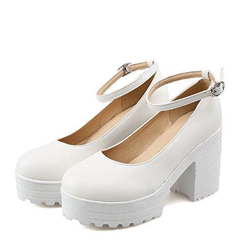 Voguezone009 Femmes Boucle Chaussures Bout Pointu Fermé Fermé Haut Talon Shimmer Pur Blanc Ballerines