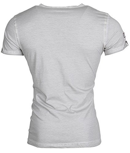 Tazzio Herren T-Shirt Poloshirt Polo Hemd Slim Fit Japan Style Kurzarm Grau