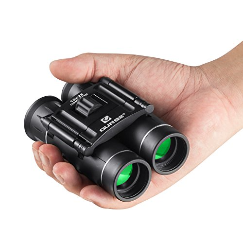 QUNSE Mini Prismáticos 10x25, Lentes ópticas Transparentes, Ultra-visión, Diseño Compacto de, Apto para Guardar en un Bolsillo o en tu Equipaje