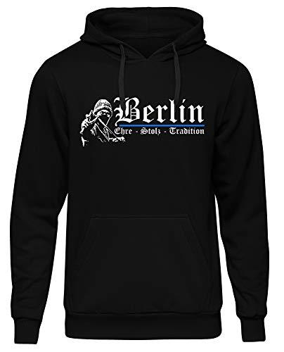 Berlin Ehre & Stolz Männer und Herren Kapuzenpullover | Fussball Ultras Geschenk | M1 FB (Schwarz, XL)