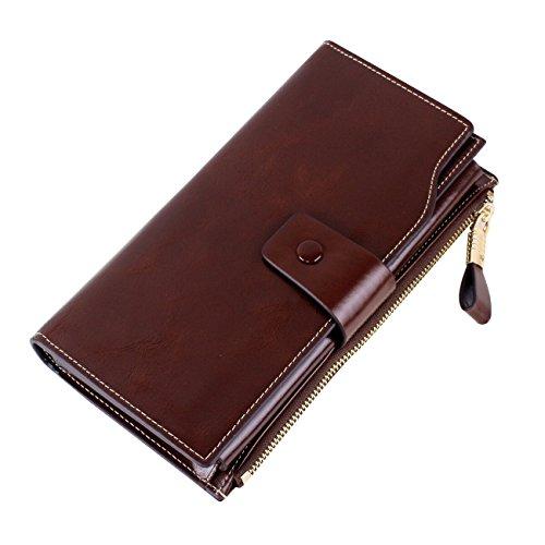 Lycailcy pochette portafoglio da donna, in vera pelle, con lunga cerniera e tasca grande (scatola regalo) viola Purple taglia unica Coffee