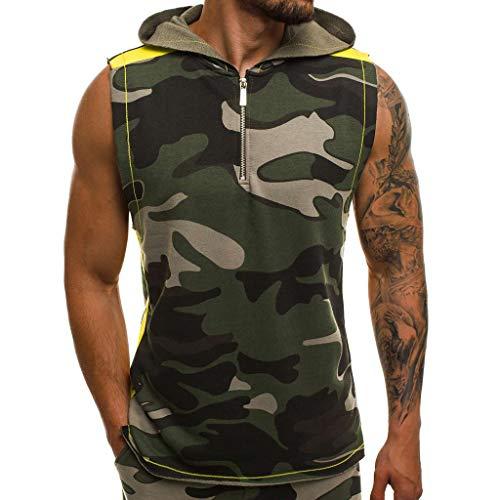 EUCoo Herren ÄRmelloses Top Weste Rollkragenpullover Camouflage Hooded Sleeveless Zip Sommerjacke(Armeegrün, XXL)