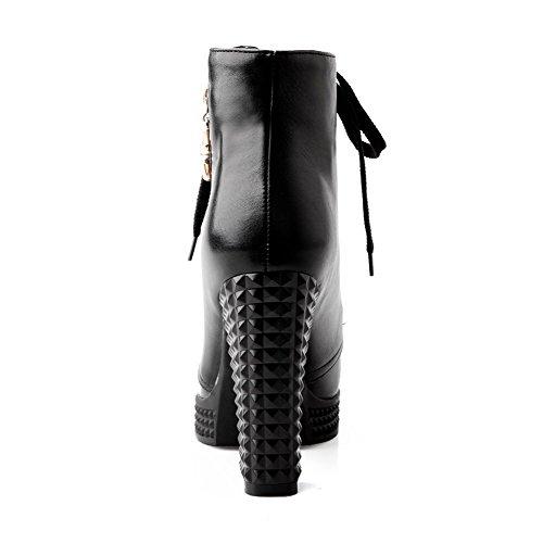 VogueZone009 Donna Bassa Altezza Puro Allacciare Tacco Alto Stivali con Metallo Nero