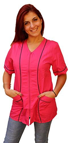 Casacca camice da lavoro donna con zip 'fucsia' per estetista parrucchiera maestra asilo (l)