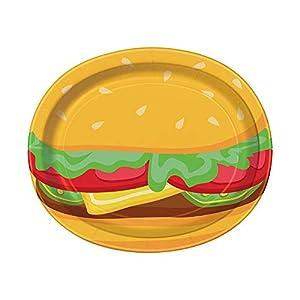 Unique Party 58708 Burger - Platos de papel ovalados para verano, 8 unidades