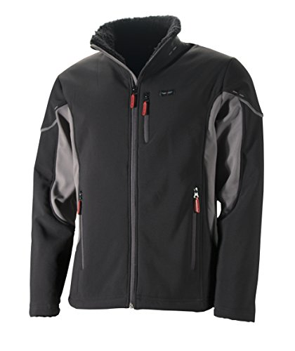 W.K.TEX. Herren Softshell-Jacke Barry mit Sherpa Fleece Softshelljacke, schwarz/Grau, 4XL
