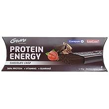 GoMo ENERGY 38% Protein Vitamin Riegel │ +45mg Guarana Koffein + L-Carnitin │ Eiweissriegel für Ausdauersport und zwischendurch │crunchy und leicht | Chocolate Crisp (2 x 35g)